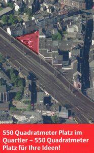 Bild: Luftbild von der Fläche Am Salzmagazin und Umgebung | Text: 550 Quadratmeter Platz im Quartier - 550 Quadratmeter Platz für Ihre ideen