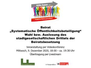 """Logo: Menschen und """"Köln kann Stadt im Dialog gestalten""""   Veranstaltungstitel """"Beirat Wahl bzw. Auslosung des stadtgesellschaftlichen Drittels der Beiratssitzung"""