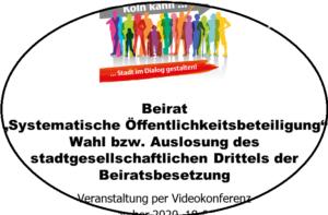 """Bild - Ausschnitt Präsentationstitel: Beirat """"Systematische Öffentlichkeitsbeteiligung"""". Wahl bzw. Auslosung des stadtgesellschaftlichen Drittels der Beiratsbsetzung"""