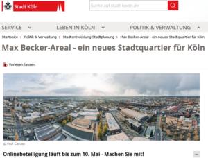 Screenshot Website Stadt Köln zum Beteiligungsverfahren Max-Becker-Areal