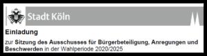 """Screenshot von einer """"Einladung zur Sitzung des Ausschusses für Bürgerbeteiligung, Anregungen und Beschwerden in der Wahlperiode 2020/2025r"""